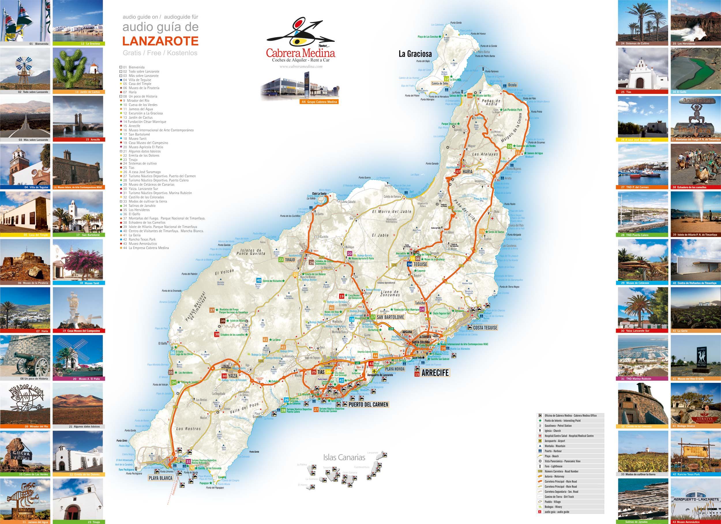 Carte Lanzarote.Location De Voitures Lanzarote Autos Cabrera Medina