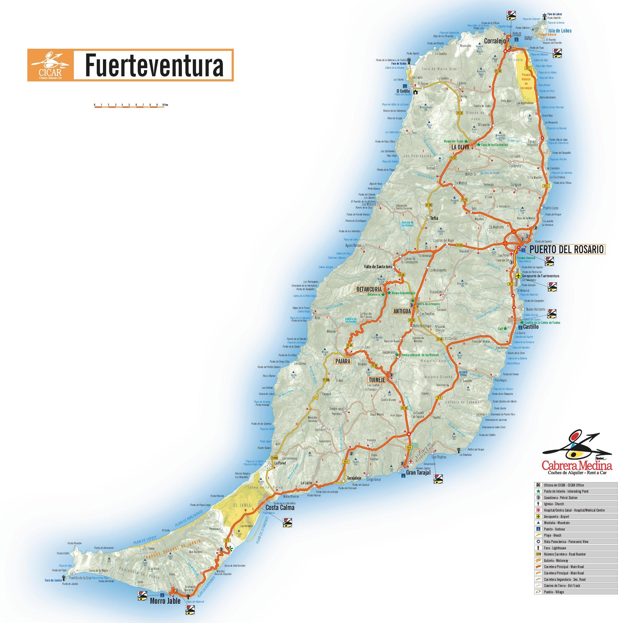 Carte Lanzarote.Autos Cabrera Medina Servicios Gratuitos
